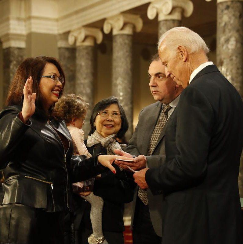 Senator Tammy Duckworth being sworn in by Joseph Biden