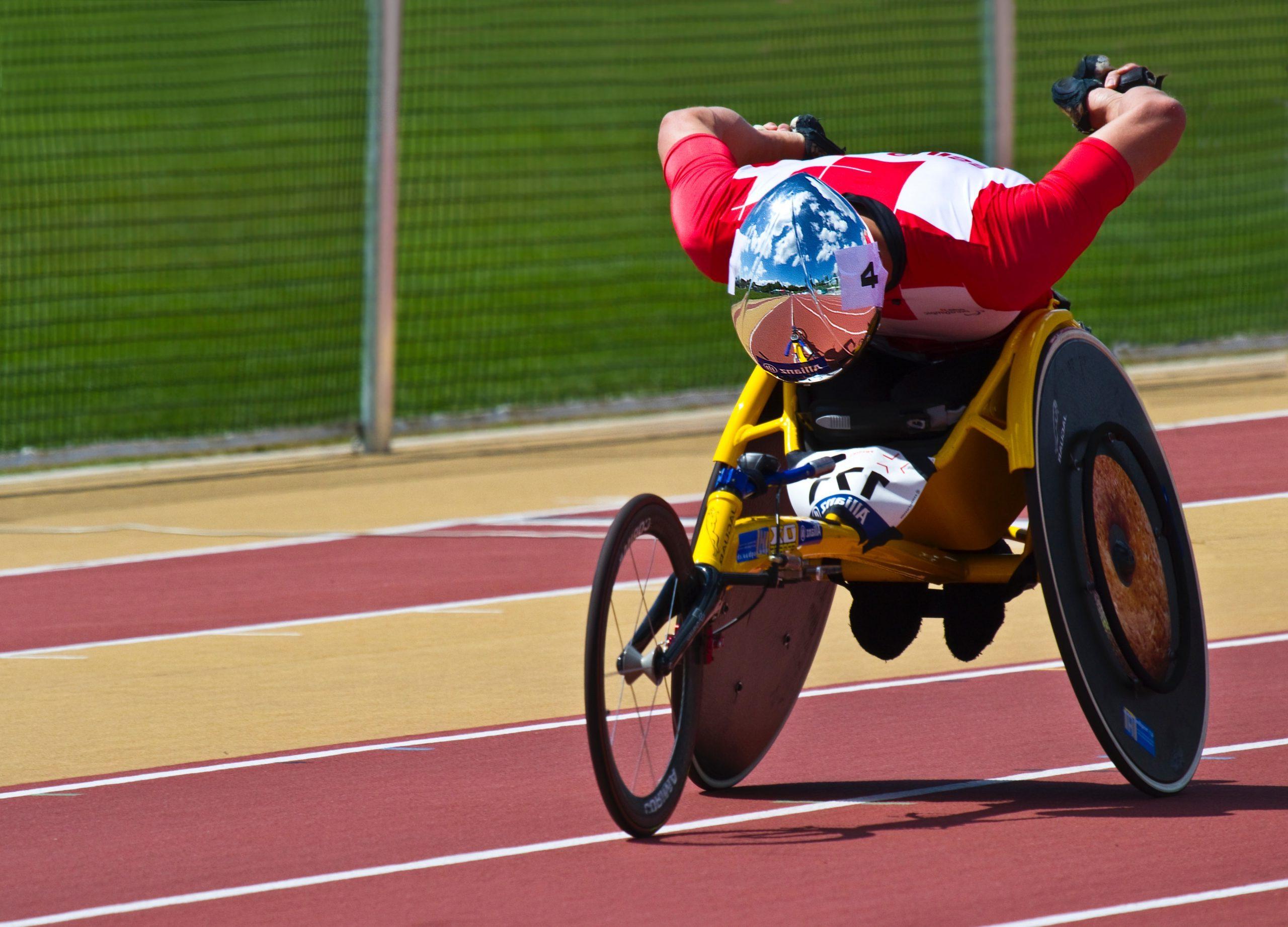 Man on racing wheelchair
